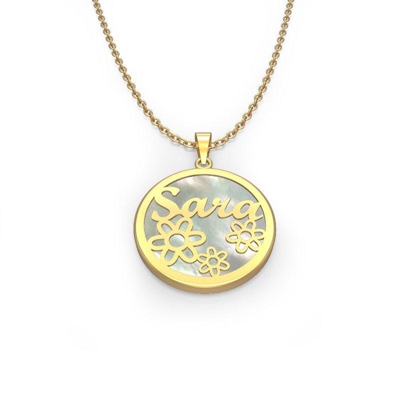 Collar de oro con nombre y flores