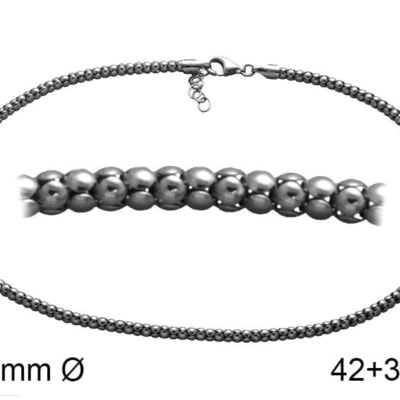 Cadena POP 4 42+3 cm en plata Envejecida