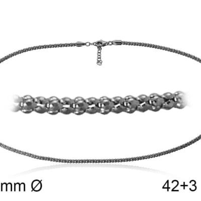 Cadena POP 25L 42+3 cm en plata Negra